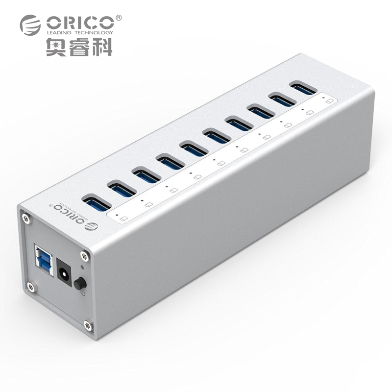 Aluminum 10 Ports HUB ORICO A3H10-SV USB3.0 Splitter with 12V3A Power Adapter Via-Labs VL812 Chip Silver