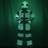 KS81 Party led robot men suit dj RGB light stage wears luminous led costumes colorful dance outfits glowing helmet led gloves dj
