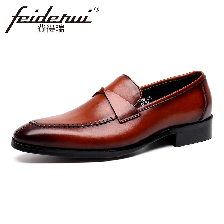 New Arrival Genuine Leather Men's Formal Dress Loafers Pointed Toe Slip on Handmade Man Office Party Casual Shoes YMX30 brand new men genuine leather flats man casual shoes loafers cow suede leather weddng party black handmade formal shoe d966 3
