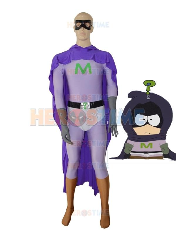 Mysterion Vlastní kostým Fialový muž Superhero kostým Spandex Fullbody Zentai Suit Doprava zdarma