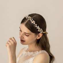 SLBRIDAL Handmade Golden Alloy Wired Rhinestones Crystal Pearls Wedding Headband Bridal Hair Vine Accessories Women Jewelry