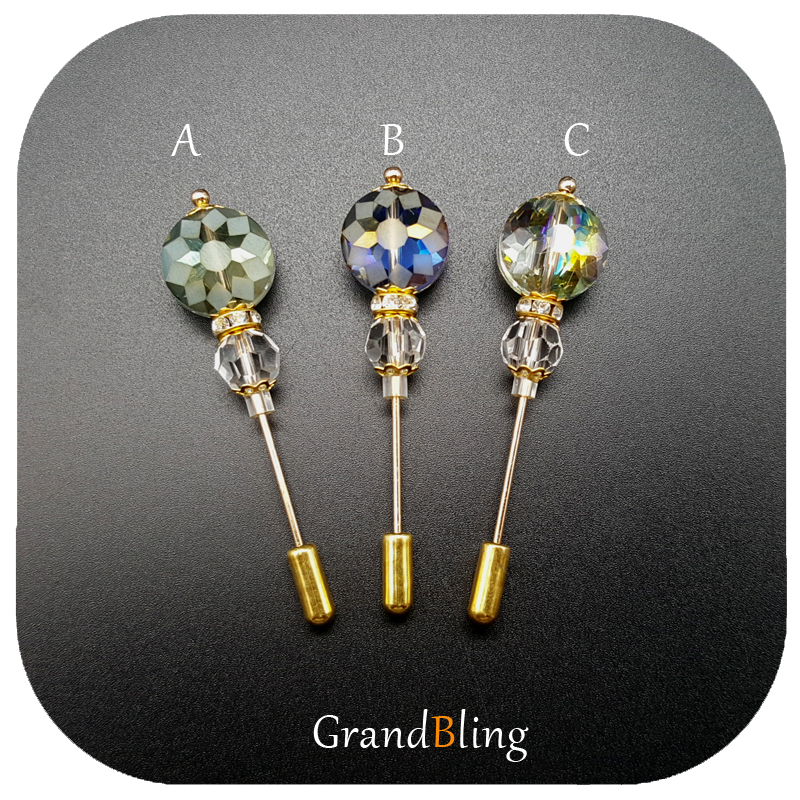 Mode Vintage Style Hijab Pins Fancy Glass Pärlor Handgjorda Long Stick Pin Brosch Accessory