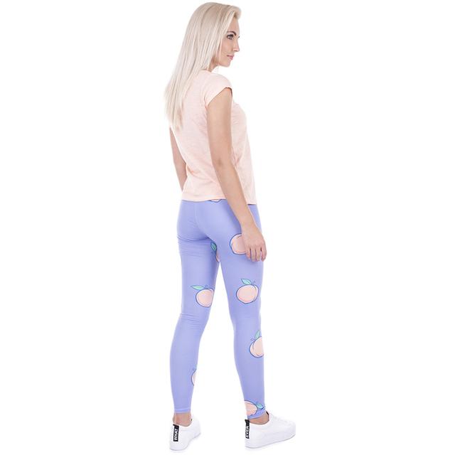 2017 Women Fruit Printed Spandex Leggins Purple Peach Leggings Funny Basic Casual High Waist Leggins Girls Spot Leggins