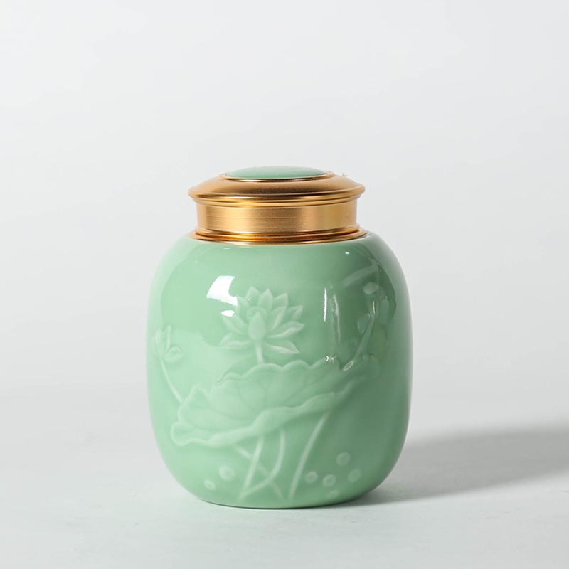 Longquan Celadon Tea Caddies Lotus Pattern Seal Cans Kung Fu Tea Set Accessories Coffee Beans Sugar Storage Jar Tanks Canister