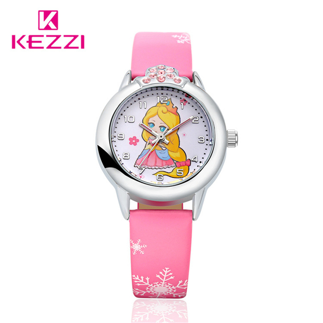 Kezzi Brand Kids Children Girls Watches Cute Cartoon Princess Girls Quartz Analog Leather Strap Wrist Watch Waterproof K1128-1