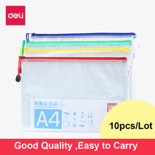 10pcs/lot Zipper File Bags A4/A5/A6 Clear Pocket Folders Mesh Water-resistant Pvc Storage Bags Organizer for Papers,Document