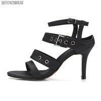 2018 Nouvelles Femmes Sandales roma style boucle chaussures talons hauts pantoufles manque rouge dames robe chaussures