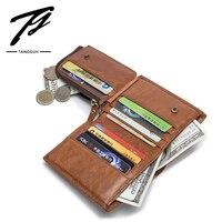 Male Wallet Men's Purse Short Cow Genuine Leather Card Holder Zipper Pocket Cowhide Slim Cartera Hombre Portfel Luxury Brand