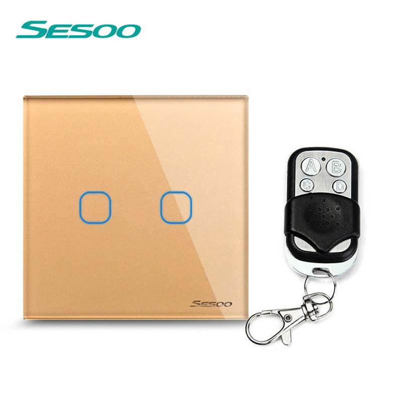 EU/UK Standard SESOO Remote Control Switches 2 Gang 1 Way,Crystal Glass Switch Panel,Remote Wall Touch Switch+LED Indicator smart home uk standard crystal glass panel wireless remote control 1 gang 1 way wall touch switch screen light switch ac 220v