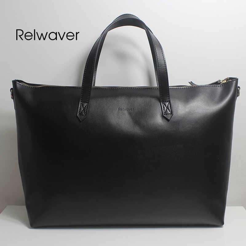 84bc00b049b1 Relwaver натуральной кожи сумка большая сумка тоут черные мужские женские  кожаные сумки случайные сумка стильная сумка