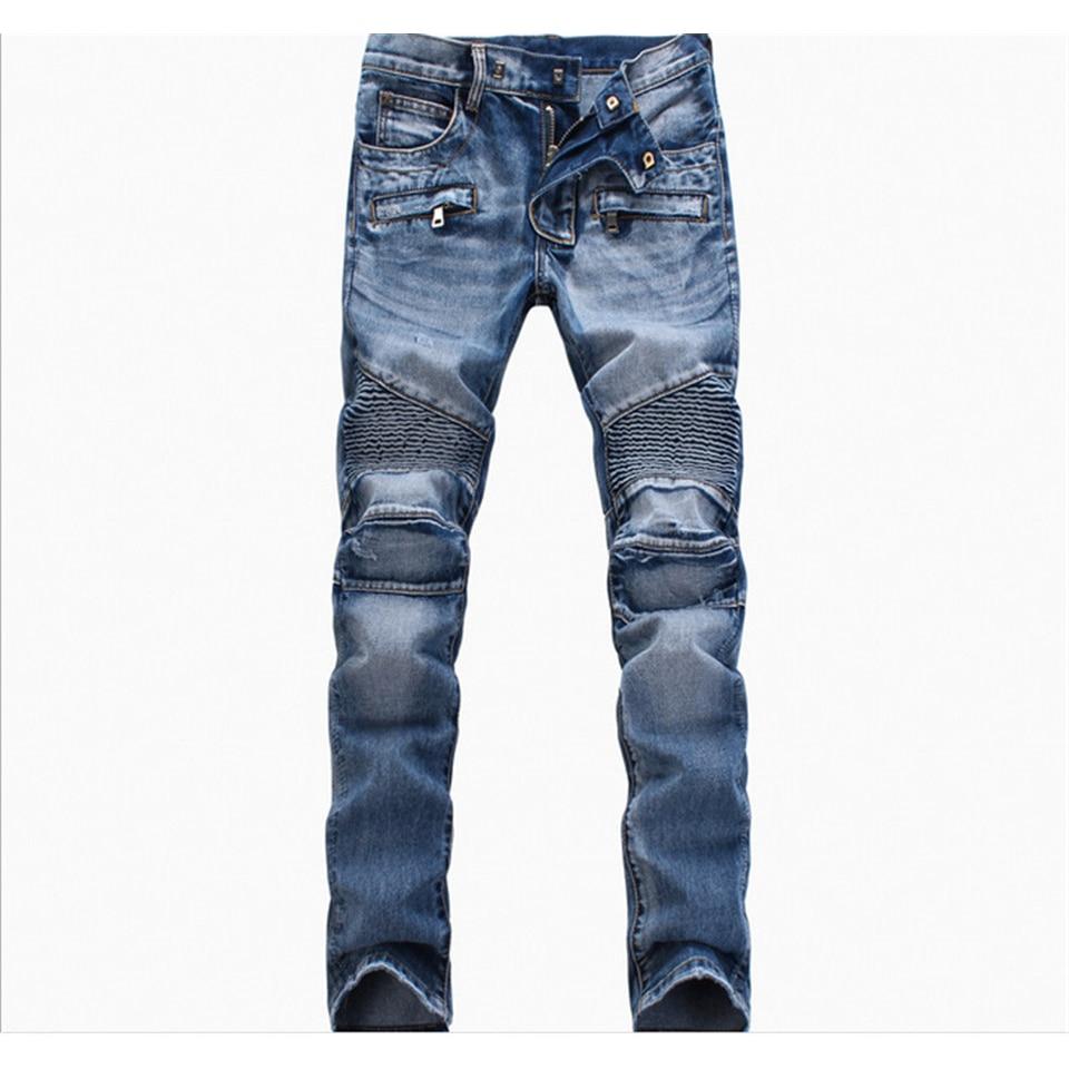 Brand Moto Biker Jeans Men Pleated Zipper Slim Straight Casual Mens Jeans Denim Side Pockets Skinny Jogger Pants High Quality 2017 men jeans biker pleated mens denim ripped jeans hip hop straight stretch zipper distressed moto slim fit pleated punk pants