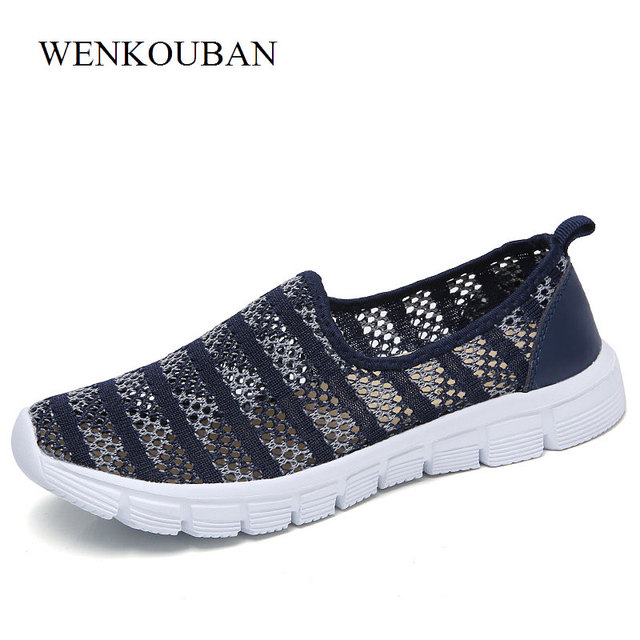 Designer Sneakers Women Casual Shoes Summer Air Mesh Shoes Lightweight Trainers  Ladies Slip On Tenis Feminino Flat Zapatos Mujer 85bf05a777a1
