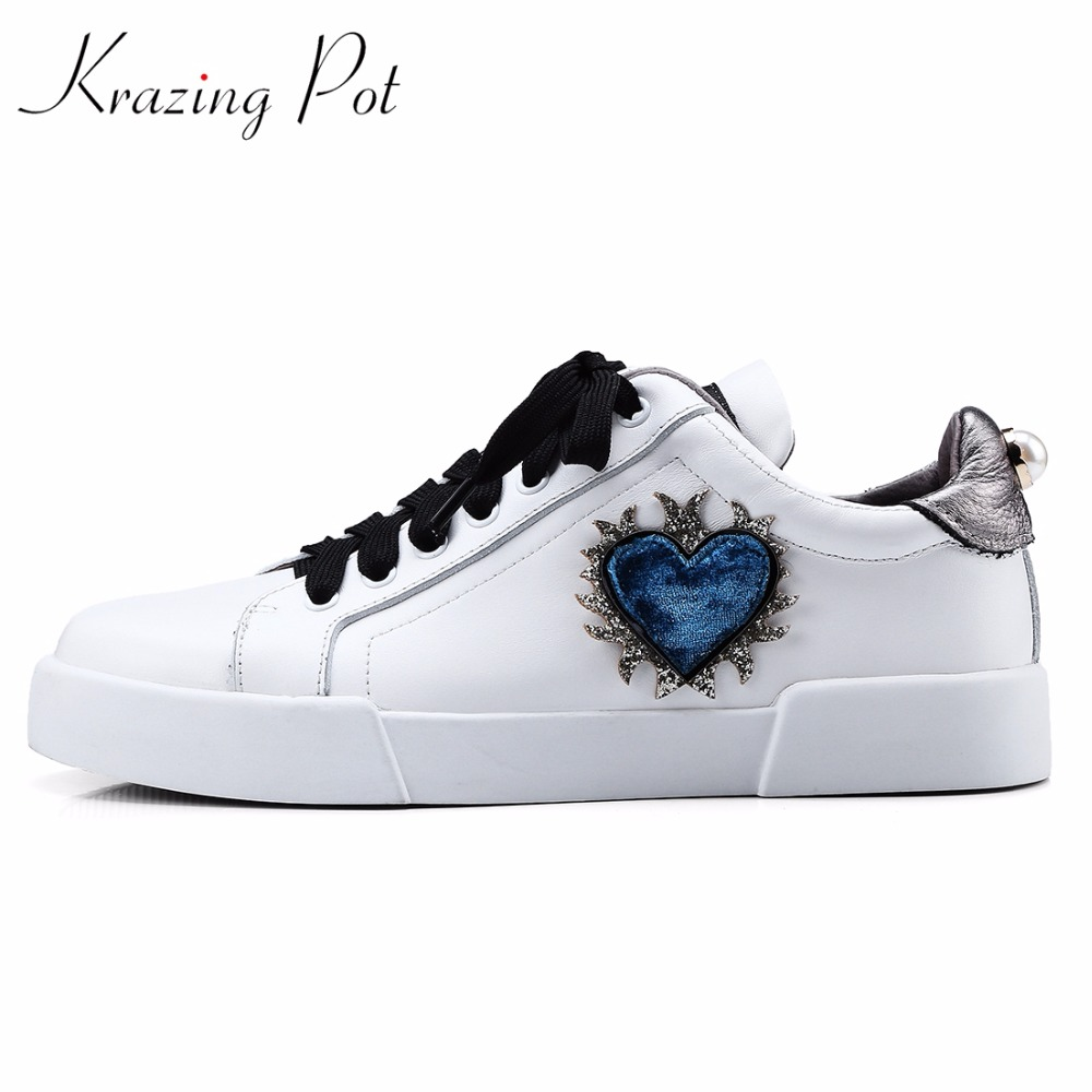 Krazing Pot vintage genuine leather women lace up increased casual pregnant round toe love patterns female vulcanized shoes L68