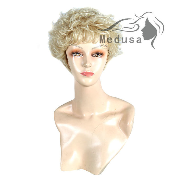 Medusa hair products: Synthetic pastel wigs for women Classic short shag styles curly blonde wig with bangs Peruca loira SW0092A