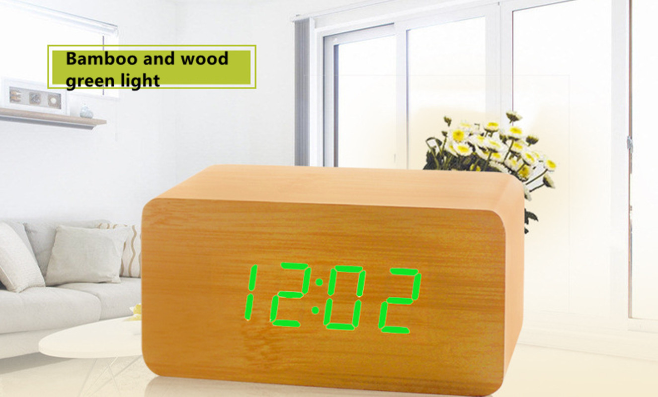 FiBiSonic Modern Design Wooden LED Digital Alarm Clock Desktop Multi-function Temperatur ...