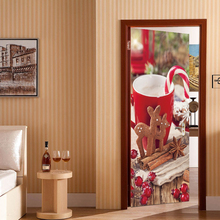 Christmas Cup Door Stickers Xms  Mural PVC Self-adhesive Waterproof Modern Bedroom WallPaper Living Room Decoration