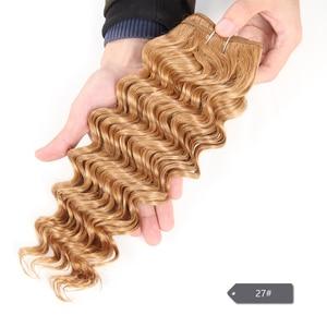Image 3 - Sleek Natuur Diepe Golf 1 Stuk Alleen Braziliaanse Diepe Golf Bundels menselijk Haar Weave Deal #4 27 30 99J Bordeaux Remy Haar Extension