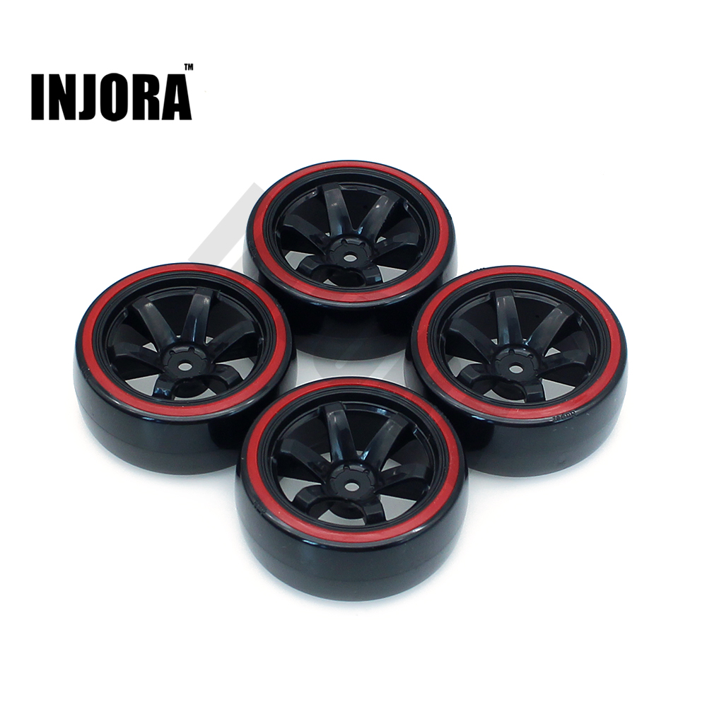 INJORA 4Pcs/Set RC Drift Car Wheel Rim Tires Hard Tyre for 1/10 Traxxas Tamiya HPI Kyosho On-Road Drifting Car 4pcs rc monster truck wheel rim tires kit for 1 10 traxxas tamiya hsp hpi kyosho rc trucks car rubber tyre parts