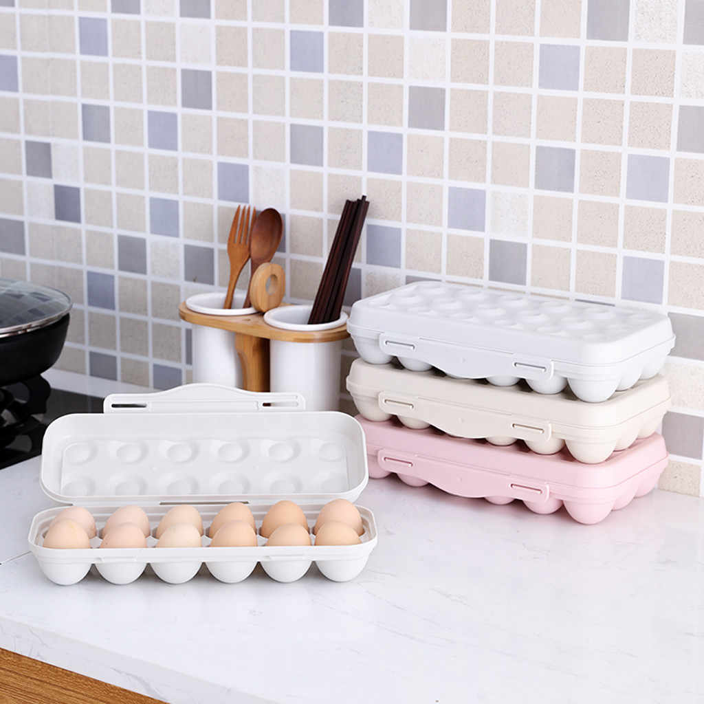 Fridge Egg Storage Box 12-grid Plastic Egg Tray Holder Organizer Box Container Egg Dispenser For Refrigerator Capacity K15