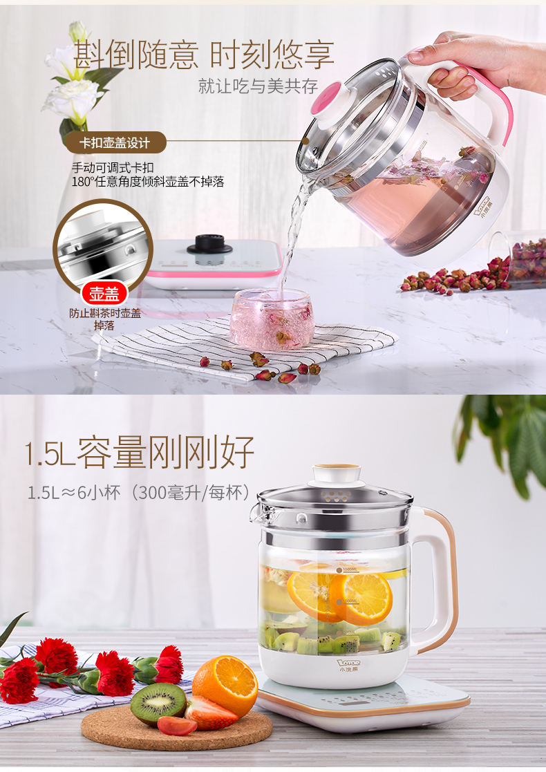 Kettle Health Pot Office Multifunctional Automatic Thickening Glass Home Health Pot Bouilloire Electrique  Electric Tea Maker 10