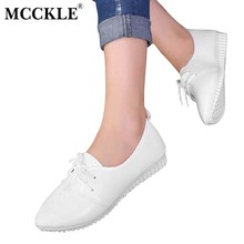 MCCKLE Women's High Quality Fashion Pointed Toe Lace Up Low Heels Female Casual Autumn White Black Soft Bottom Wedge Shoes