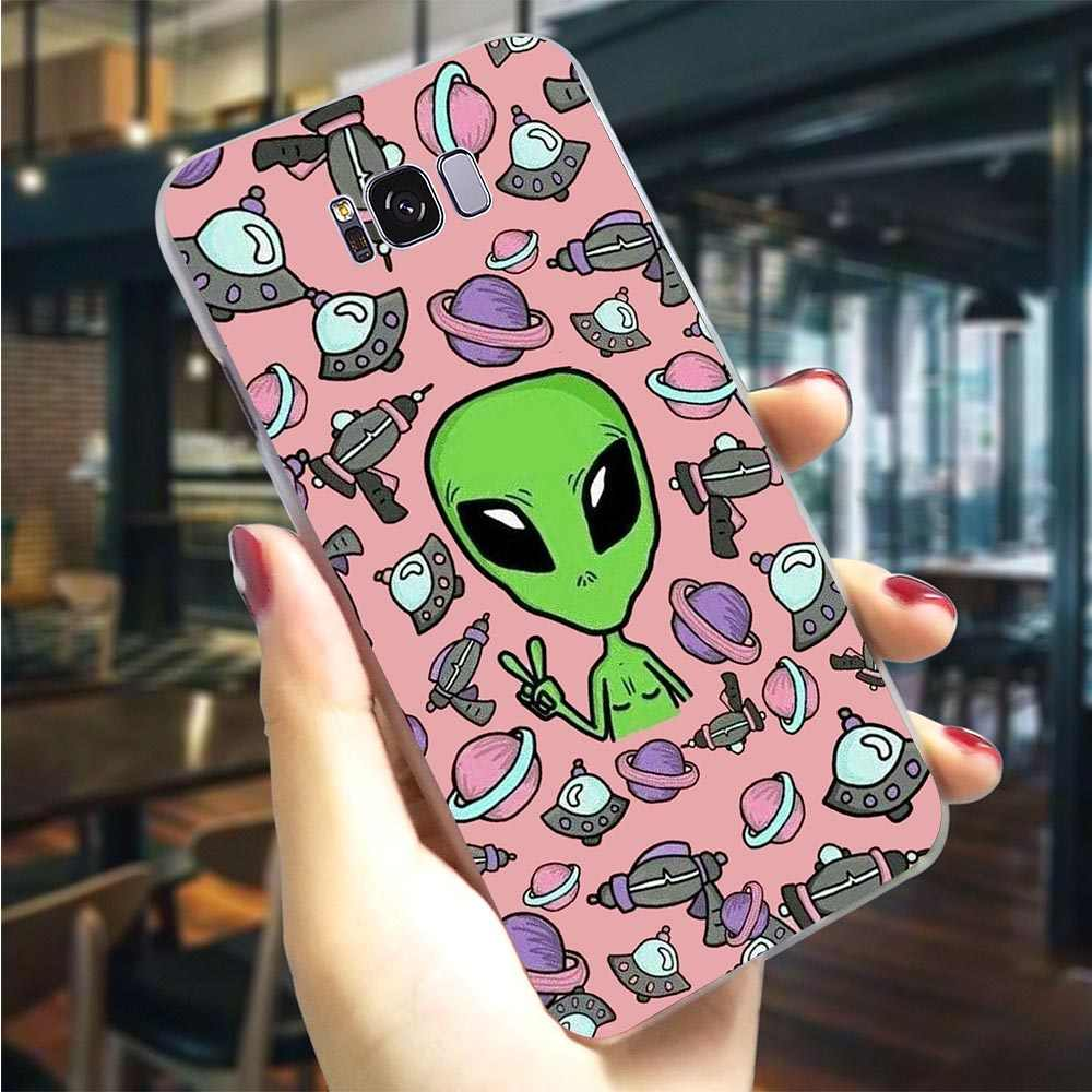 Plastic Phone Cover for Galaxy A7 2018 Funny Alien Drawings Case for Samsung A40 Covers A50 A3 A6 Plus A5 A8 A9 A10 A20 A30 A70