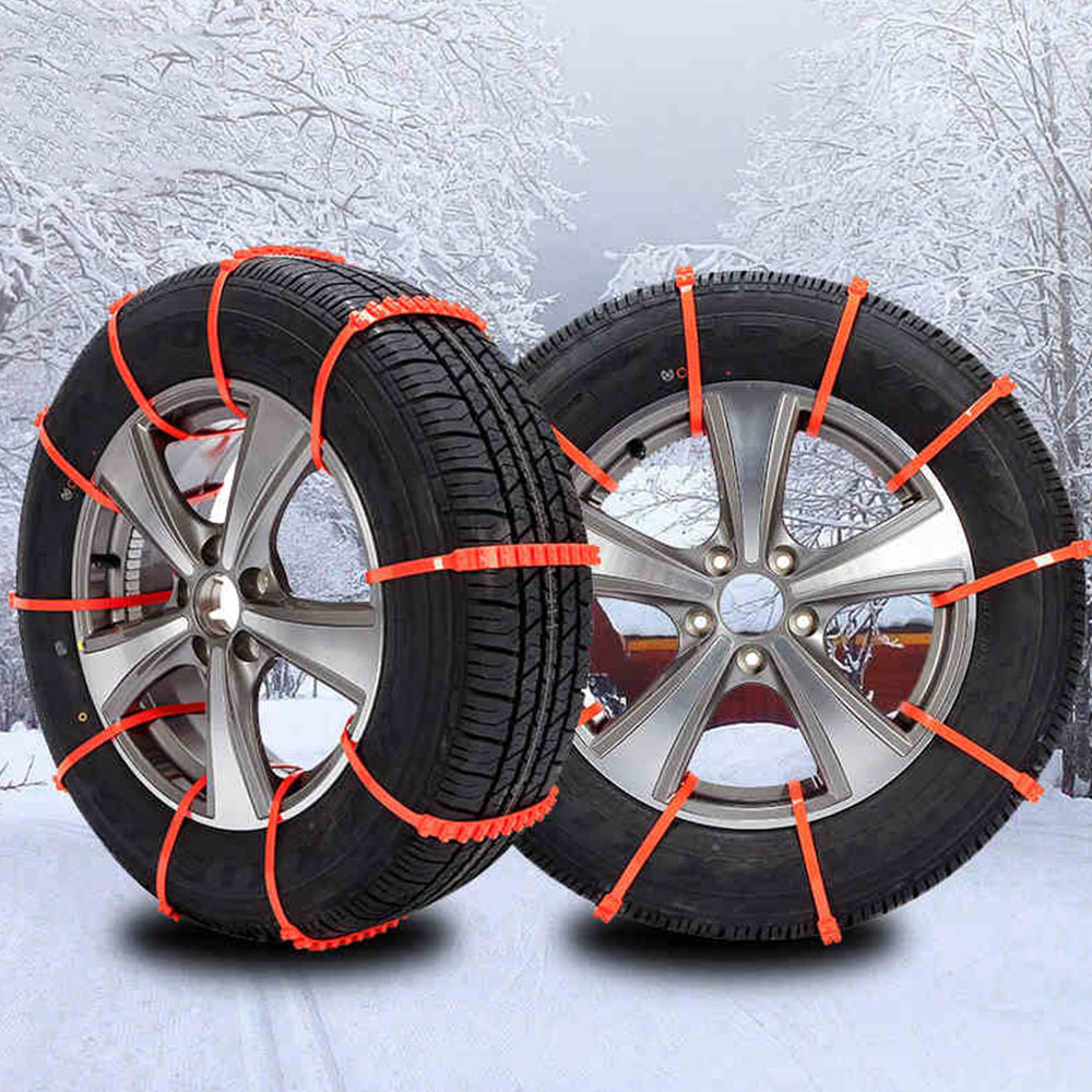 Vehemo Orange Plastic Universal Thickened Anti-Skid Chains Accessories Winter Driving Snow Tire Belt Roadway Safety Snow Chain