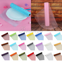1 Roll 25m X 29cm Sheer Organza Roll Tulle Fabric For Diy Wedding Party Chair Sash