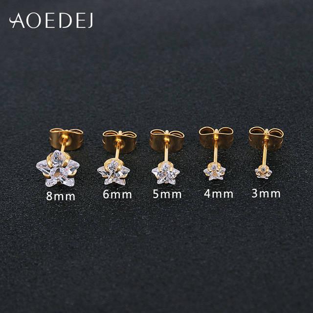 Фото серьги гвоздики aoedej 3 8 мм золотого цвета в форме звезды цена