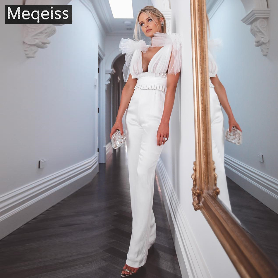 2019 New Summer Women Jumpsuit Rompers Sexy Deep V Lace Tank Bow Club Jumpsuit Black White Celebrity Party Long Jumpsuits