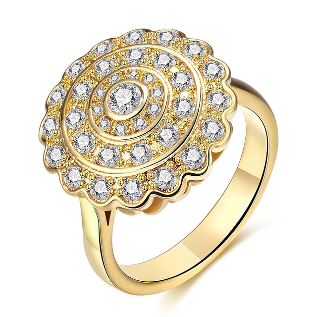 Women S Yellow Gold Color Cubic Zirconia Ring Clic Party Round Bridal Sets Jewelry