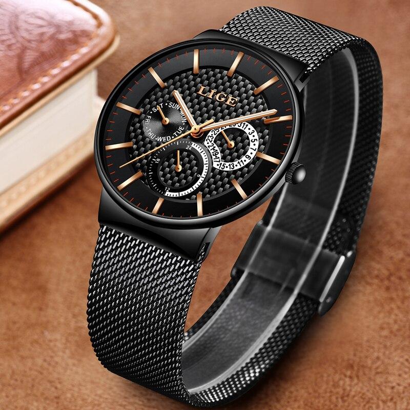 Relogio Masculino LIGE Fashion Mens Watches Top Brand Luxury Quartz Watch Men Casual Slim Mesh Steel Date Waterproof Sport Watch 2