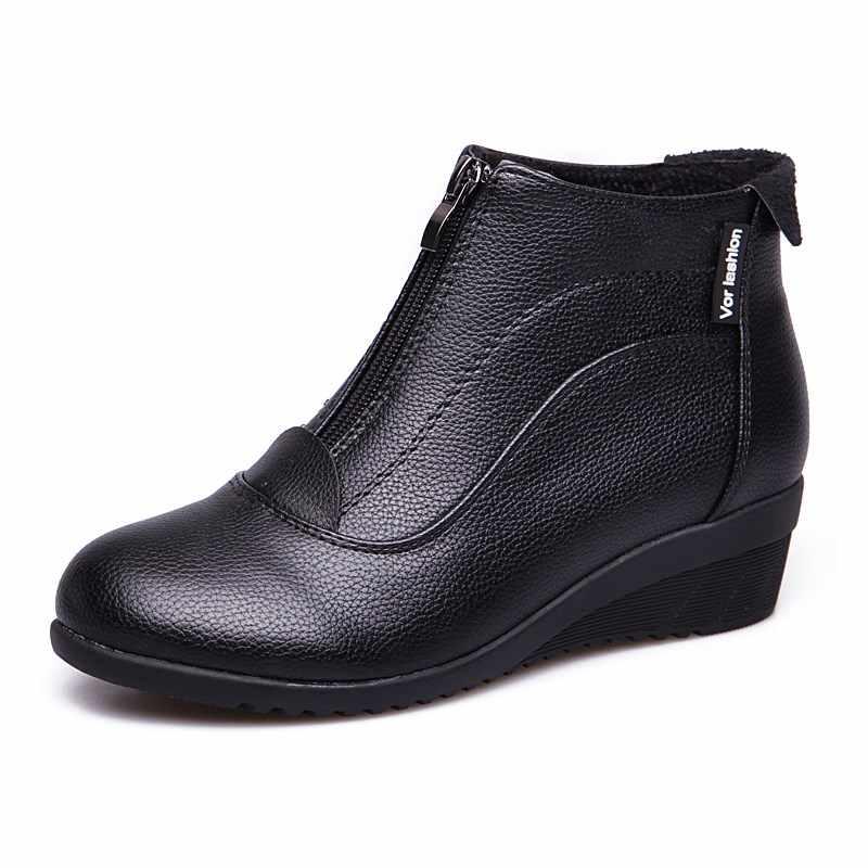 Mùa đông Giày Nữ 2019 Phụ Nữ Ủng Nêm Gót Mùa Đông Giày Nữ Lông Ấm Áp Giày Khóa Kéo nam Nữ botas Mujer