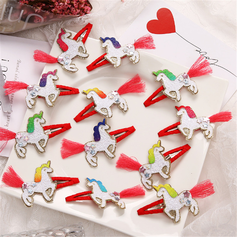 10pair/lot Exquisite Unicorn Snap Hair Clip Princess Tassel Unicorn Hairpins Cute Barrette Sequin Handmade Girls Hair Accessorie