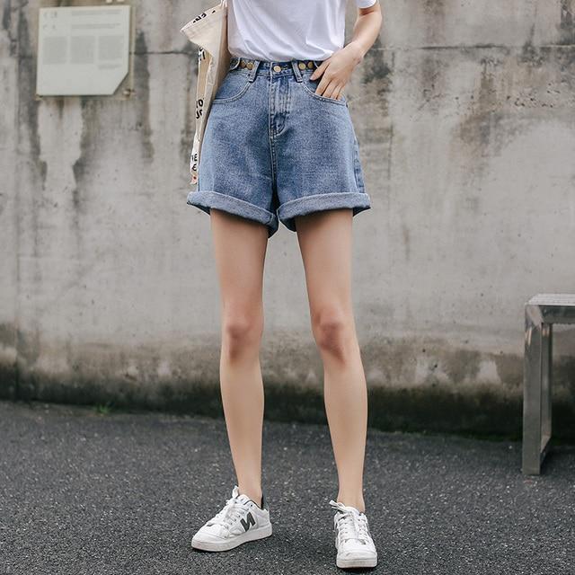 Streetwear High Waist Wide Leg Denim Shorts   3