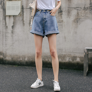 Image 3 - Streetwear High Waist Wide Leg Denim Shorts For Women 2020 New Jean Shorts Women Summer Korean Style Women Loose Short Shorts