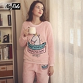Winter keep warm women pajamas sets cute cartoon Coral fleece flannel simple long sleeve sleepwear for women pijama de unicornio