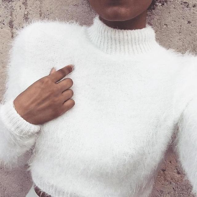 Winter Clothes Women Long-sleeved High-necked Umbilical Bottomed Plush Sweater Top Sueter Mujer #1027