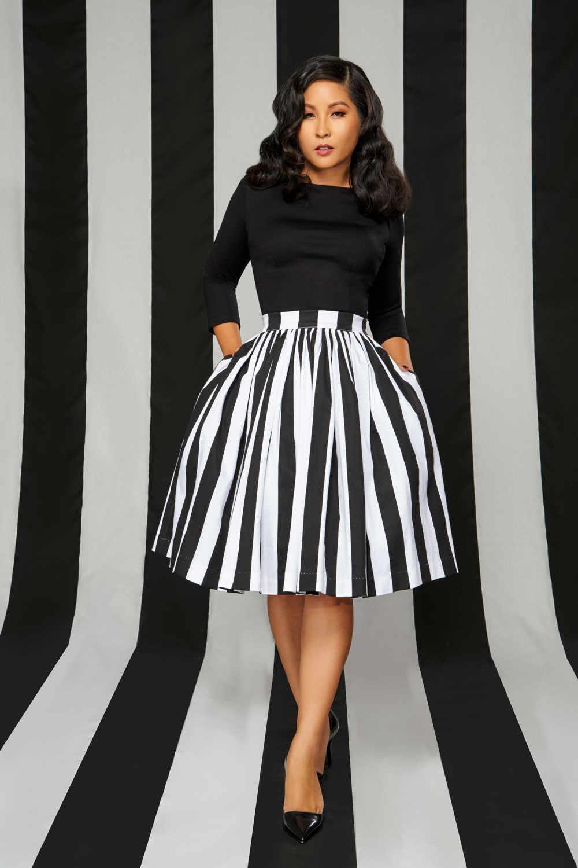 52cd269cd ... 30- women vintage 50s swing midi skirts in black white striped plus  size saia rockabilly