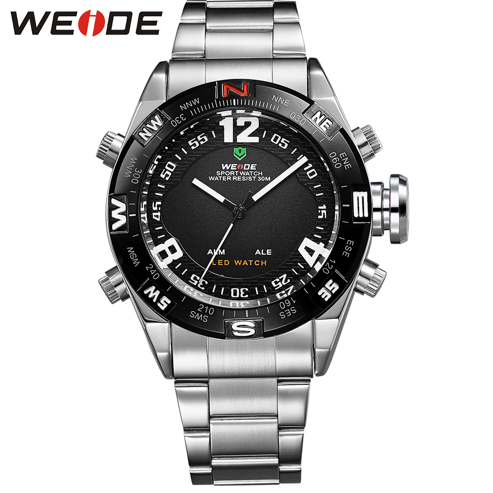 WEIDE Outdoor Sport Watch Waterproof LED Analog Quartz Back Light Alarm Auto Date Display Stainless Steel Wrist Watches For Men weide popular brand new fashion digital led watch men waterproof sport watches man white dial stainless steel relogio masculino