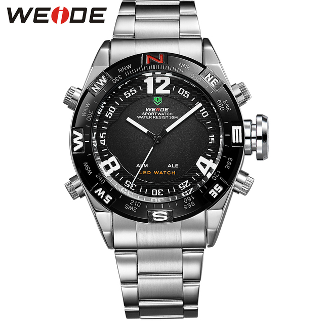 WEIDE Outdoor Sport Watch Waterproof LED Analog Quartz Back Light Alarm Auto Date Display Stainless Steel Wrist Watches For Men