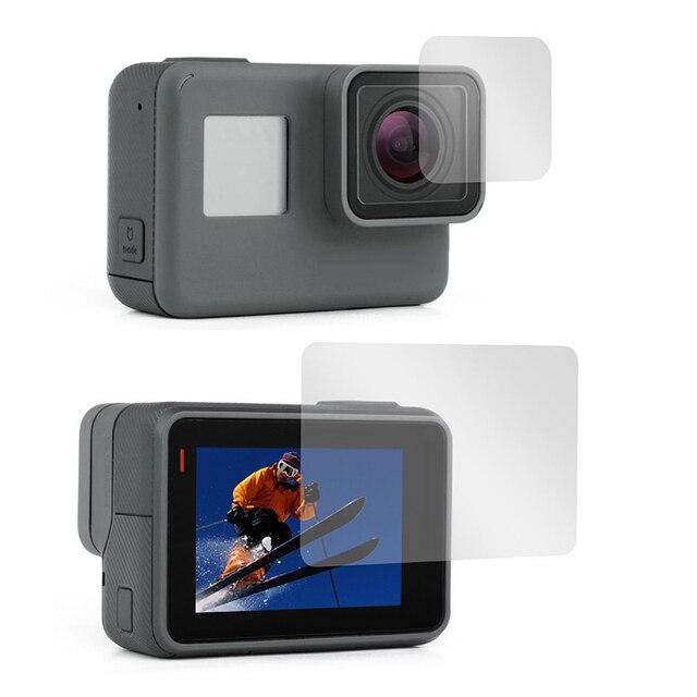 Película protetora para gopro hero 5 6 7, película de vidro temperado para câmera hero 5 6 7 edição preta hero 2018 2 peças lentes e filme da tela