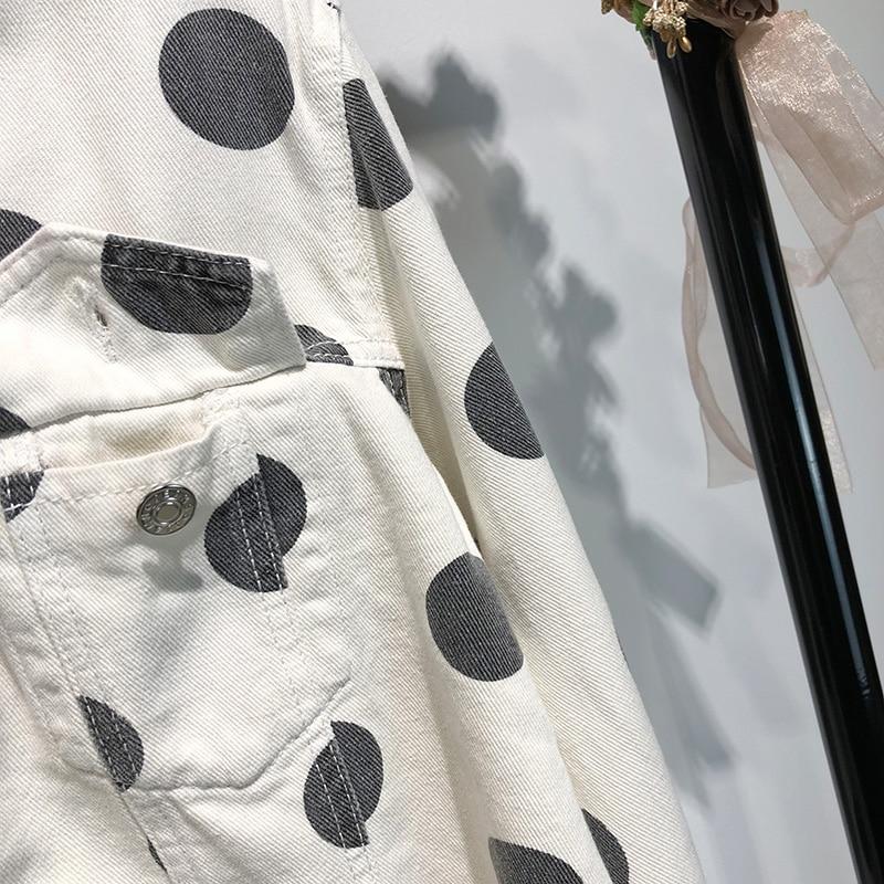 Streetwear Manteau Polka 2018 Imprimé De Vintage Automne Mode Outwear 1321 Jean Femmes Y Dot Casual Denim qx4wztwFX