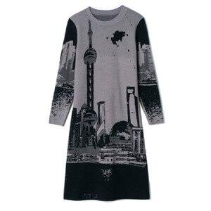 Image 4 - Vestido tejido de manga larga para mujer, Jersey Vintage, cuello redondo, M, L, XL, XXL, alta calidad, novedad de 2019