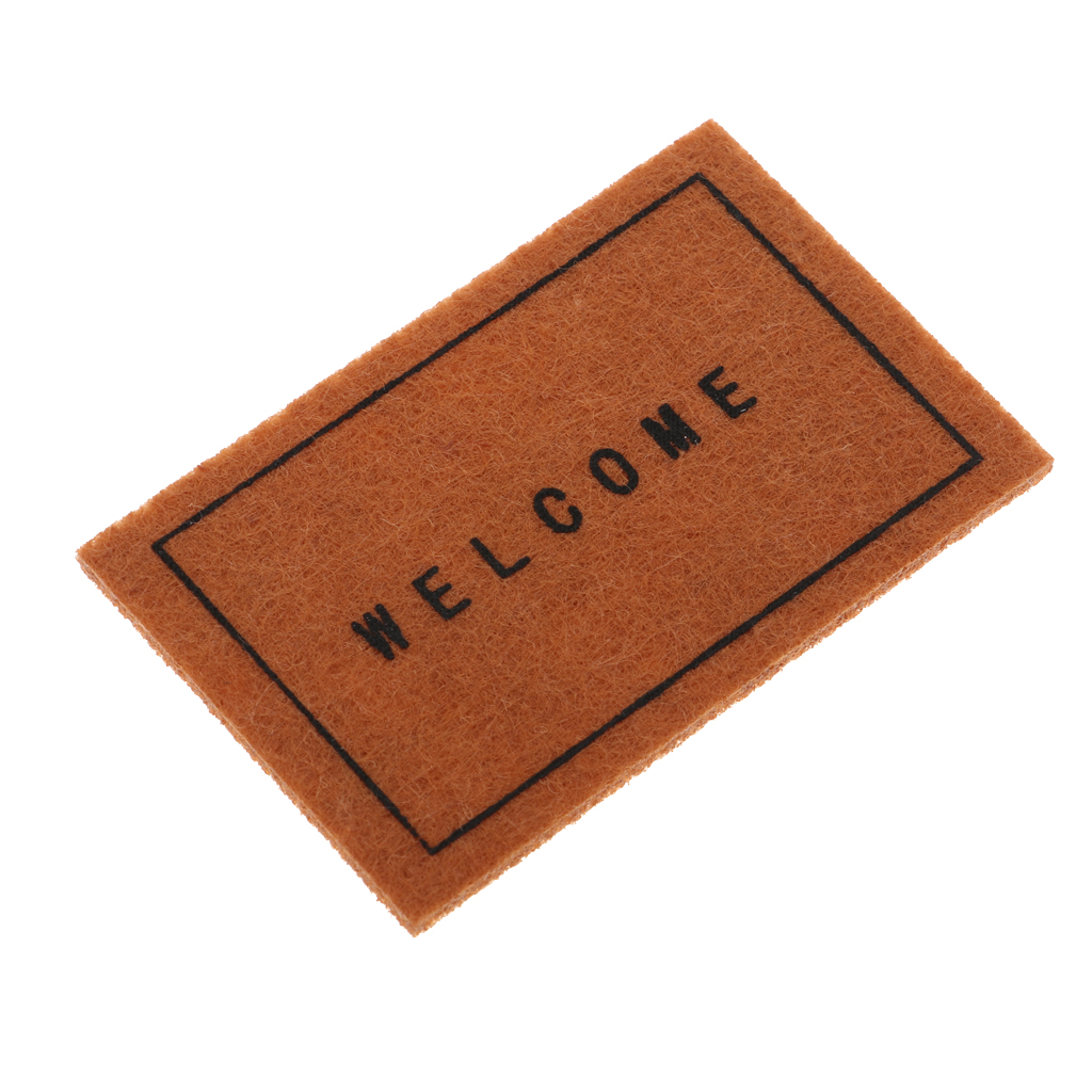 Miniature Welcome Mat Front Door Carpet Floor Rug For 1/12 Scale Dollhouse Living Room Accessories