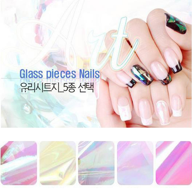US $29 99 |100m*4CM Per Roll Holographic Glass Nail Foils Shiny Laser Foils  Nail Art Transfer Sticker Paper Lovely Candy Color Sticker-in Stickers &