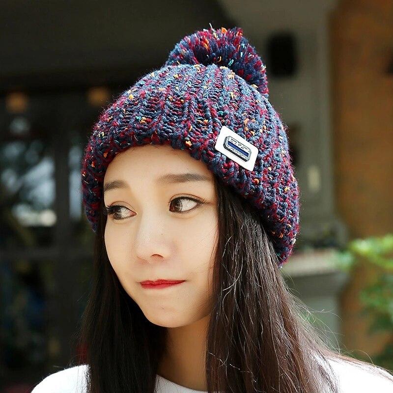 2017 New Autumn Winter Knitting Hats For Women Cap Lady Skullies Beanie Girls Knitted POMPOM Winter Bonnet Hat Cap