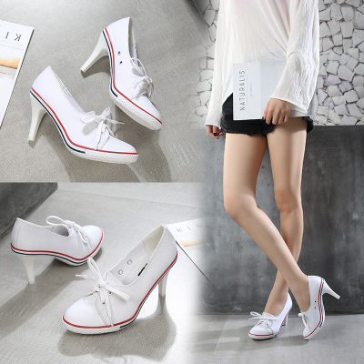 2018 Pumps Denim High Quality Shallow Mouth Women's Shoes High Heel 8CM Canvas Student Shoes Women New Board shoes size 34-41