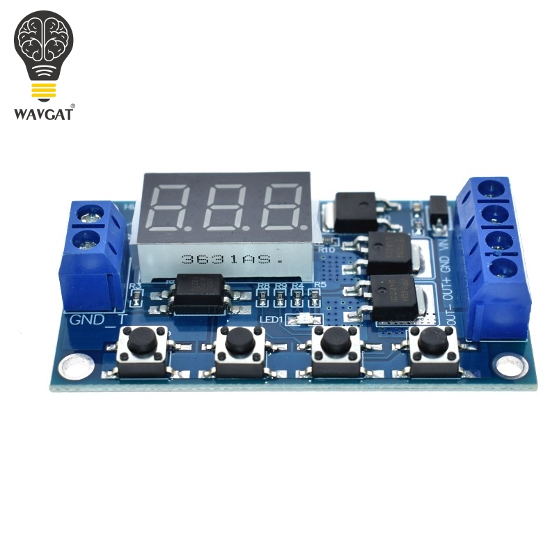 Trigger Cycle Timer Delay Switch DC <font><b>12V</b></font> 24V <font><b>Circuit</b></font> <font><b>Board</b></font> Dual MOS Tube Control Module <font><b>LED</b></font> Digital Time Delay Relay image