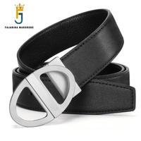 FAJARINA Quality Genuine Leather Accessories Cowhide Personality Ellipse Brass Smooth Buckle Belts for Men Best Gifts LUFJ709